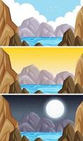 natur landskap berg scen uppsättning vektor