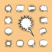 popkonst stil pratbubblor ikonuppsättning