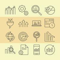 dataanalys, affärs- och marknadsföringsstrategi ikonuppsättning vektor