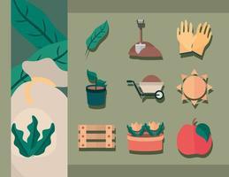 trädgårdsskötsel och skörd flat ikonsamling vektor