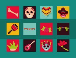 dagen för den döda firandet platt ikonuppsättning