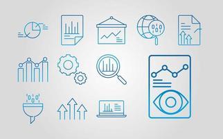 Symbolsatz für Datenanalyse-, Geschäfts- und Marketingstrategie