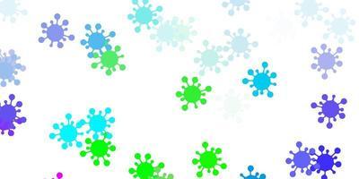 flerfärgad bakgrund med covid-19 symboler.