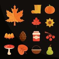 Herbstsaison Aufkleber Icon Set