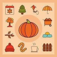 Herbstsaison Icon Set