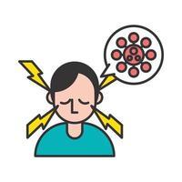 Person mit Kopfschmerzen covid19 Symptom