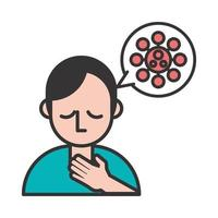 Person mit Halsschmerzen covid19 Symptom
