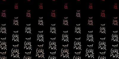 mehrfarbiges Mädchenpower-Muster auf dunklem Hintergrund