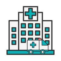 Krankenhausgebäude mit Krankenwagenszene