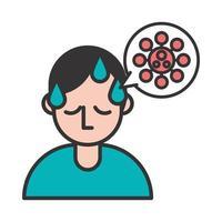 Person mit Fieber covid19 Symptom und Spore in der Sprechblase