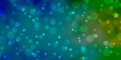 blaue und grüne Textur mit Kreisen, Sternen.