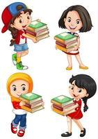 unga tecknade flickor håller böcker set