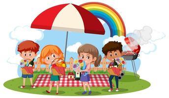 Kinder in der Picknickszene auf weißem Hintergrund vektor
