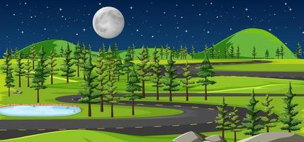 lång väg i naturlandskap på nattscenen vektor