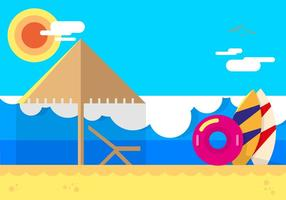 Playa Beach Flat Illustration