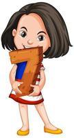 asiatisk tjej som håller matte nummer sju