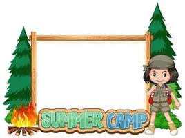 gränsmall med tjej på sommarläger vektor