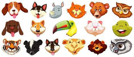 uppsättning olika söta tecknade djurhuvuden vektor