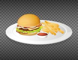 hamburgare på plattan isolerad vektor