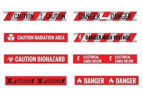Set von verschiedenen Nahtlose rote und weiße Vorsicht Bänder
