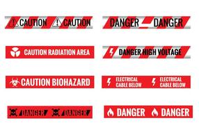 Uppsättning av olika Sömlös röda och vita Varning Tapes