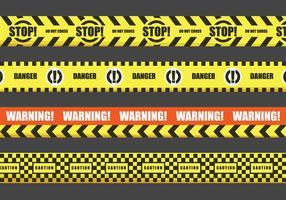 Röd och gul varning tejp vektorer