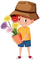 Junge, der Blume im Topfkarikaturcharakter lokalisiert auf weißem Hintergrund hält vektor
