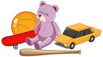Gruppe von Kinderspielzeug wie Teddybär und Ball und Autospielzeug