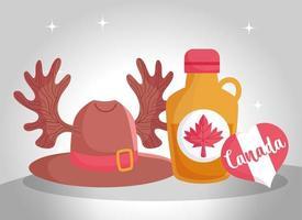 kanadensiska ikoner för Kanada dag firande vektor