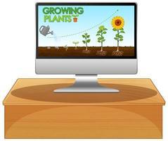 glödande växter på datorskärmen