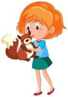 Mädchen, das niedlichen Tierkarikaturcharakter lokalisiert auf weißem Hintergrund hält