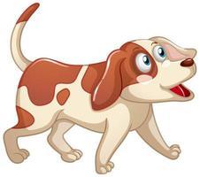 ein niedlicher Hund mit glücklichem Gesicht Zeichentrickfilmfigur auf weißem Hintergrund