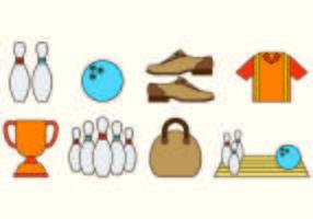 Ställ bowling ikoner vektor