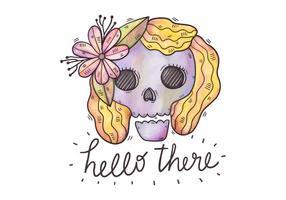 Söt Purple Sugar Skull Wearing Blomma och lycklig citat