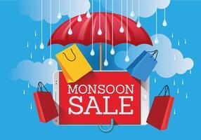 Vector Monsoon Sale Banner Poster med Gadget och paraply