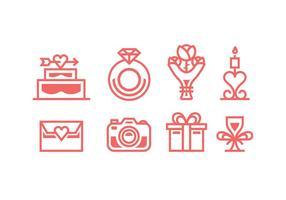 Coral Farbige Hochzeit-Vektor-Icons