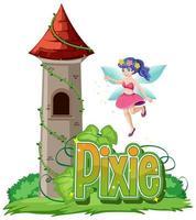 pixie-logotyp med älva och slott vektor