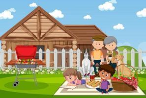 picknickplats med lycklig familj och hund vektor