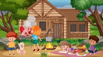 Picknickszene mit der Familie vektor