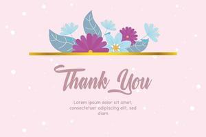 elegante Blumen Dankeskarte vektor