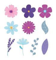süßes Blumenset vektor