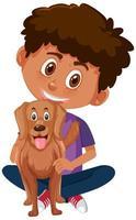pojke håller hunden