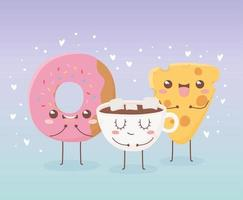 kawaii Essen Cartoon Charakter Zusammensetzung