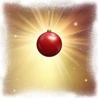 Weihnachtshintergrund mit hängender Kugel und schneebedeckter Grenze vektor