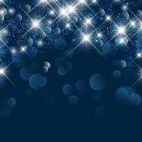 jul bakgrund med bokeh lampor och stjärnor vektor