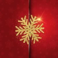 jul bakgrund med glittrig snöflinga design vektor