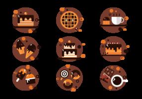 Schokoladen-Icons Vector