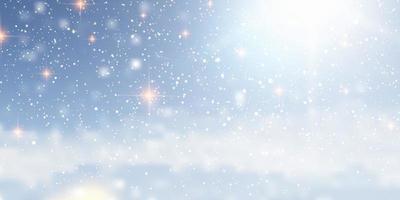 snöig jul banner design med ljus vektor