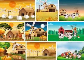 Reihe von Farmszenen