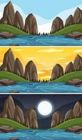 bergslandskapsscener vid olika tider på dagen vektor